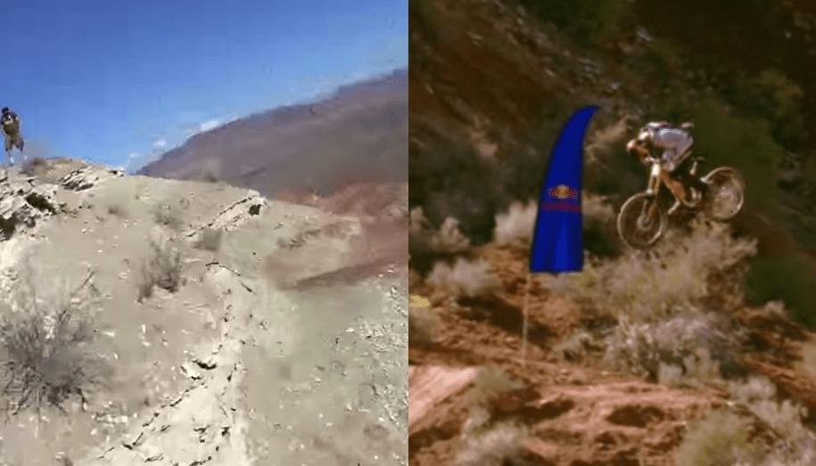 マウンテンバイク史上、前人未到チャレンジ!22メートルの渓谷をフロントフリップする映像がスゴい!【ヘルメット映像&遠くからの映像】