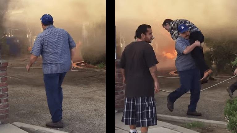 大火災の現場に突然現れ、取り残された老人を救助!名も告げずに立ち去って行った本物のヒーローが撮影される!
