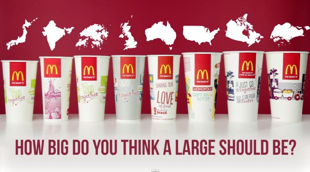 各国のマクドナルドのジュースの大きさを比較した結果、日本のが一番小さかった!!