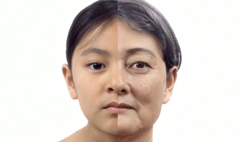 ある女性の「顔」の一生の変化を4分に凝縮した映像!!少女の時から徐々に大人に!