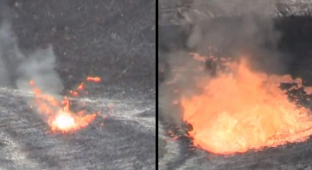 噴火口に生ごみを投げ入れたら、予想以上にマグマが反応してビックリ!!!