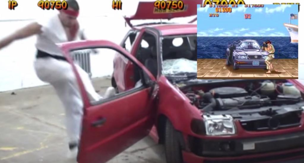 スト2の車破壊ステージを生身の体で実際にやってみた馬鹿者が現れるwwwwwwwww