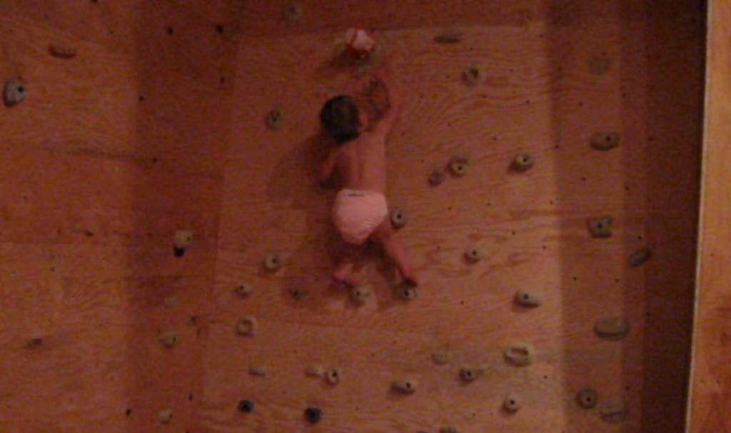 おもちゃに釣られて、垂直な壁をどんどん登っちゃう1歳10ヶ月の子供!!