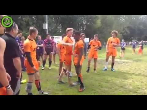 オランダのラグビー選手のハイタッチパフォーマンスがおもしろい!
