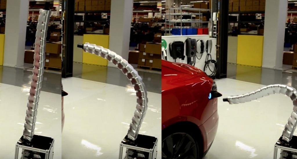 まるで蛇みたい!クネクネ動いて自ら給電口に接続する「テスラ」の給電装置がキモすぎ!!!