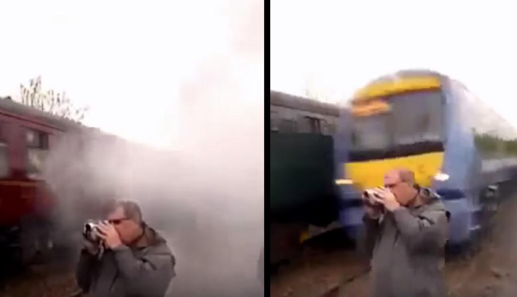海外の鉄男が撮影に夢中になっていたら、まさに霧中から突然現れた列車に危うく轢かれそうに!!