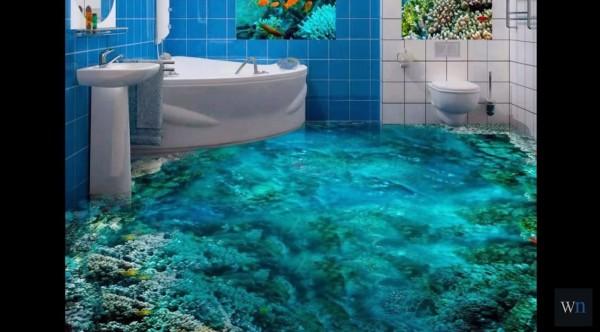 【3Dバスルーム】超クール!バスルームの床に3Dの絵を描いて別世界に!!