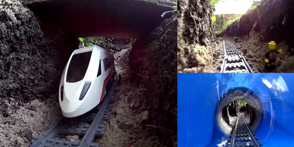 熱狂的なレゴファンが庭を掘って作った「列車コース」のクオリティが凄まじい!!