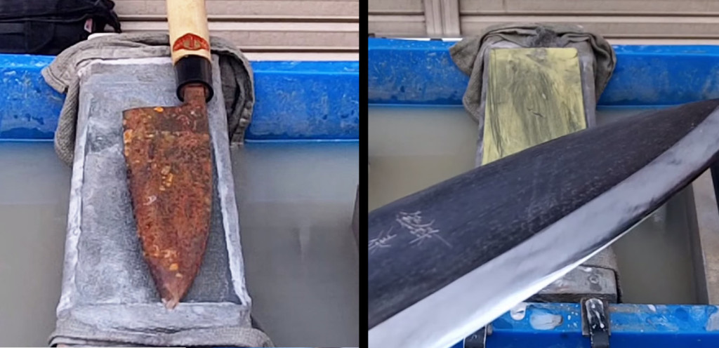 【職人技】手作業だけで、ボロボロに錆びて、刃も欠けた出刃包丁がピッカピカに!!