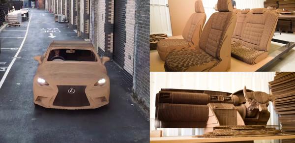 段ボールの実物大レクサスが凄い!内装も完璧で運転もできる!!