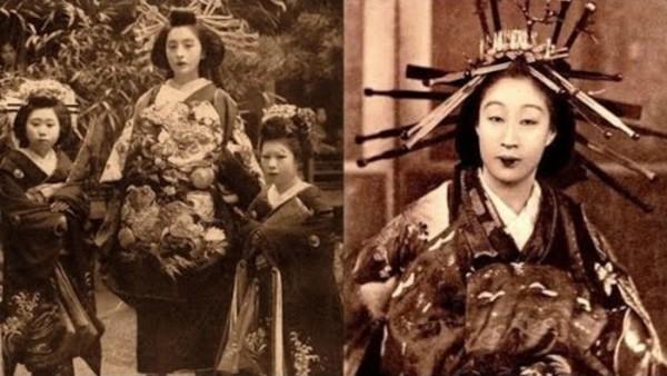 【幕末~明治初期の写真】花魁の美しい女性と遊郭の少女たち。