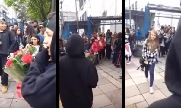 【感動】校門で花束を手に、神妙な面持ちで誰かを待つ少年。出てきたのは一人の少女?!