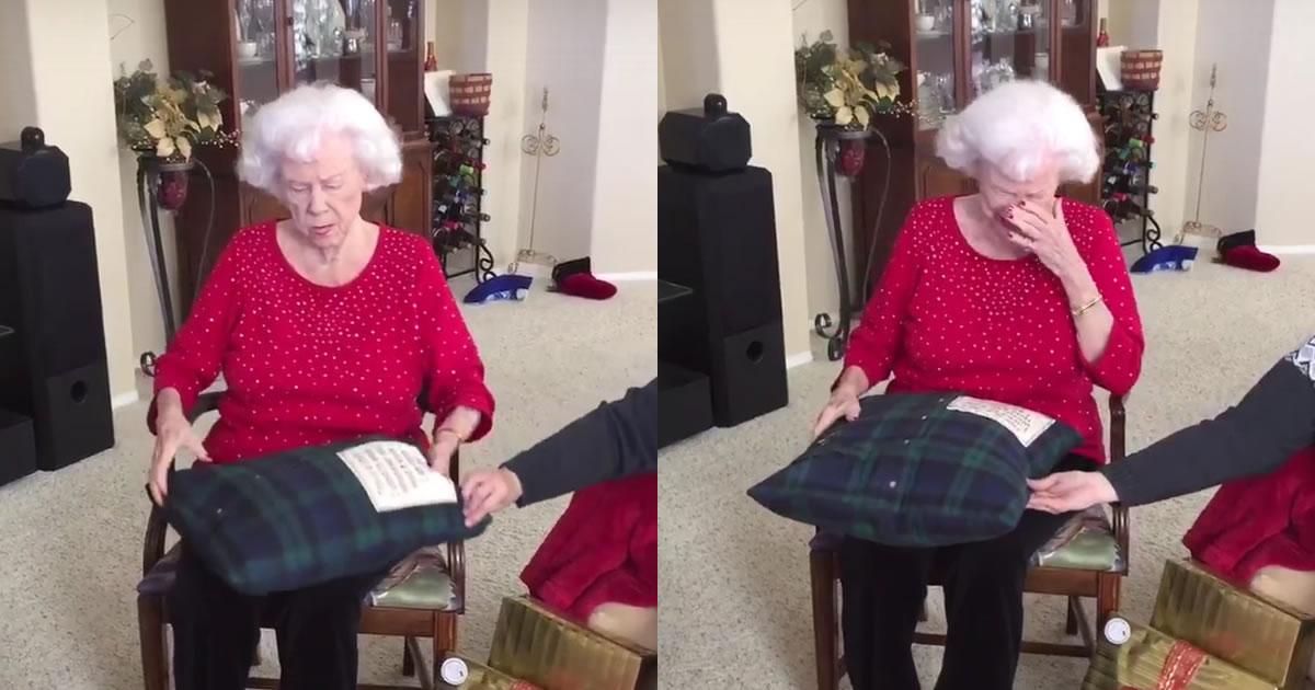クッションをプレゼントされたおばあちゃん。あることに気付いて号泣のワケとは?!