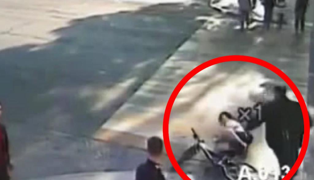 【ナイス判断】前方から来た自転車女性を引き倒したおじさん!その直後、女性は感謝することになる。。