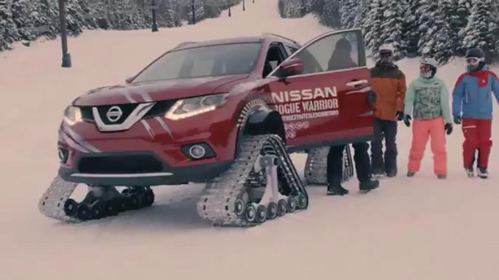 キャタピラ装備の日産車で雪山を爆走!最高時速100km、45度の傾斜まで大丈夫!!