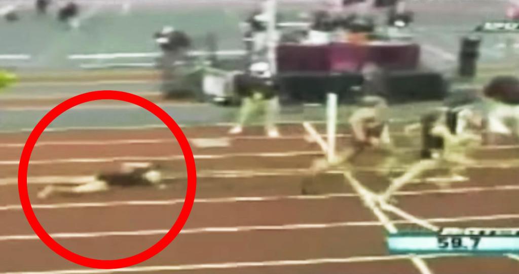 女子陸上で転倒してしまった一人の選手。しかし、そこから巻き起こされる奇跡に会場熱狂!!