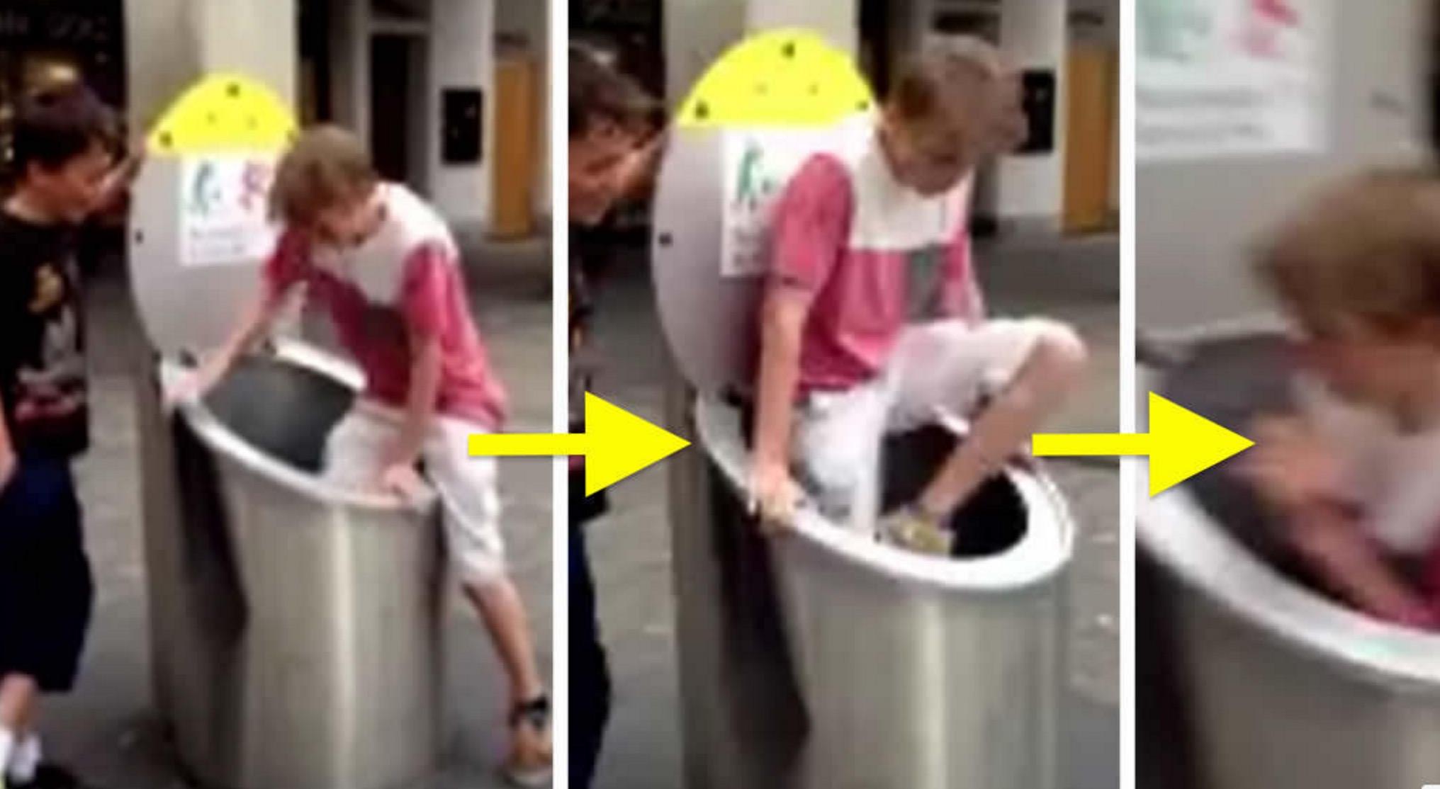ゴミ箱に入って遊んでいた少年。しかし蓋を開けると少年は消えていた。。