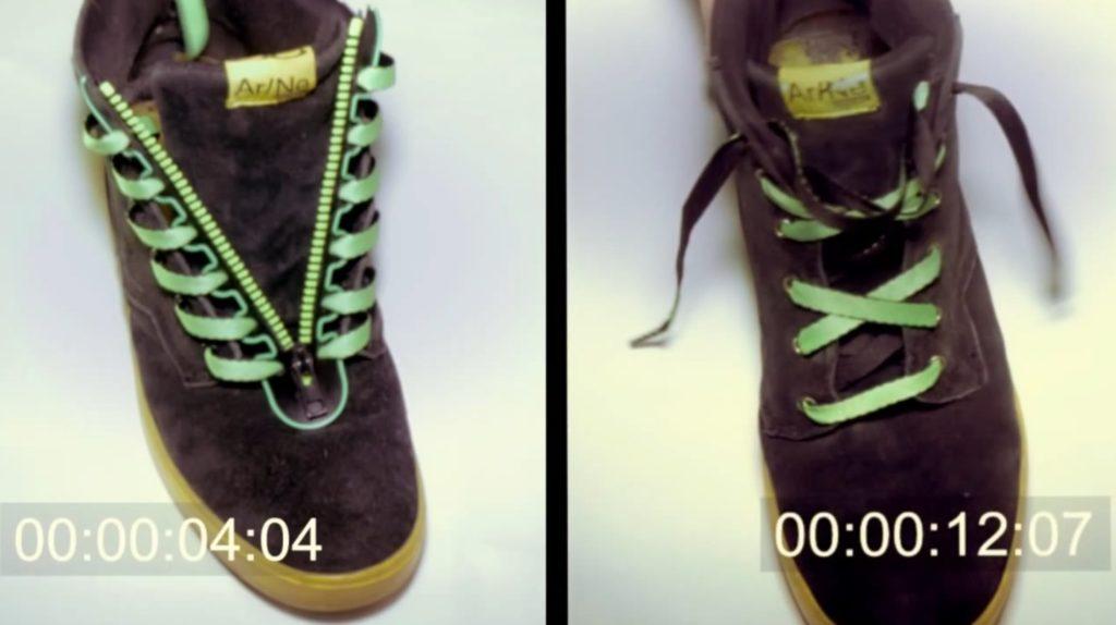 ヒモ靴の着脱が超簡単になるジッパーが画期的!一度取り付けると、もう靴ヒモを結ぶ必要は無い!