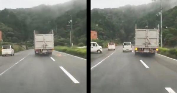【危険運転】徳島で危険すぎるアオり&蛇行運転をするトラックが話題に!!