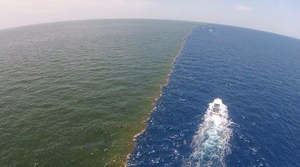 【神秘】ミシシッピ川とメキシコ湾の合流地点。どこまでも混ざらない神秘の光景!