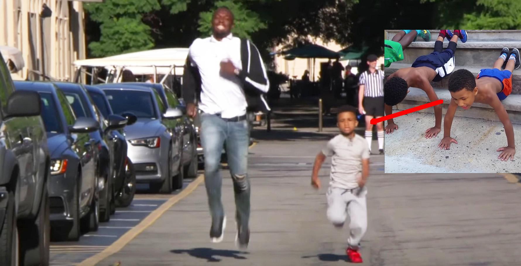 ボルト選手があの腕立て少年とレース!その「走り方」にボルトの優しさを感じずにはいられない!!
