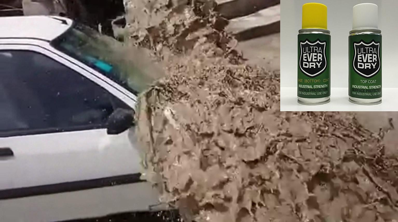 何でも防水にできる超強力「防水スプレー」を車に施し、生コンクリートをぶっかけてみた結果