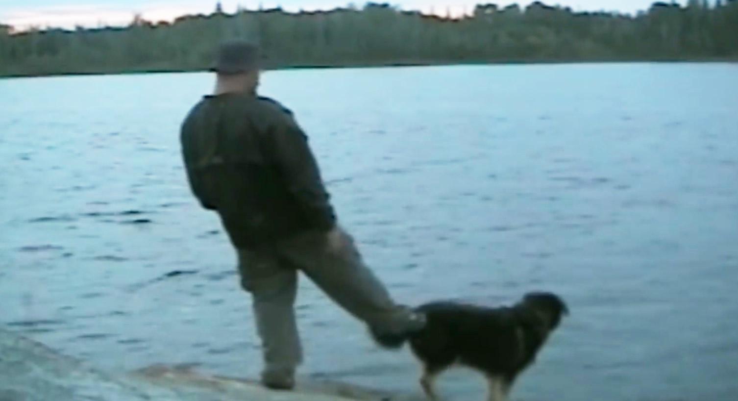 犬にイタズラした男性が残念なことに。。自業自得のお手本みたいな動画wwwwwww