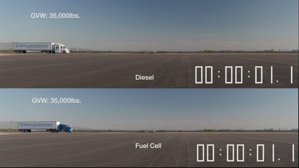 電動トラック vs エンジントラック。電動トラックの加速力がよく分かる結果に!