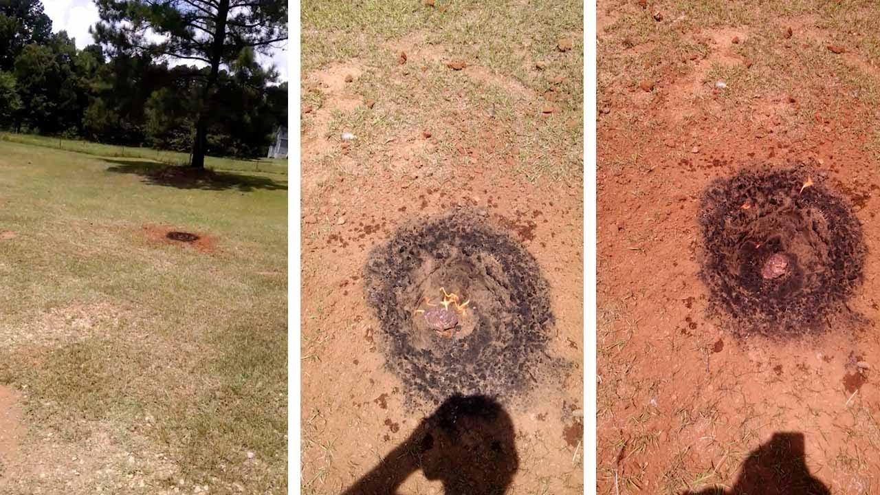 これはフェイク?裏庭に「隕石」が墜落したという動画。開いた穴の中でピンクの石が燃えている!