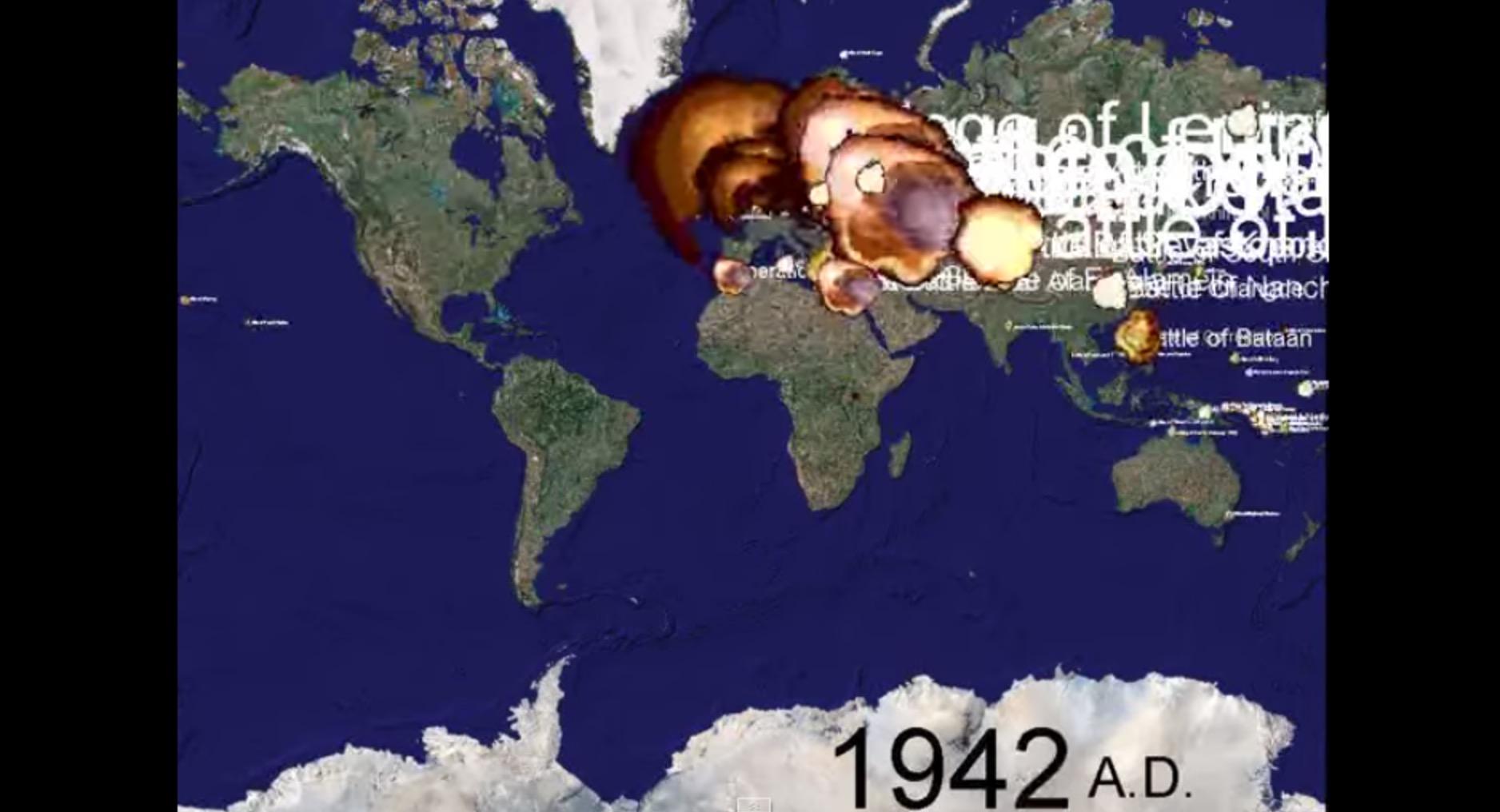 過去1000年で起きた世界中の戦争を5分の映像で可視化!終戦間際は特にヒドい