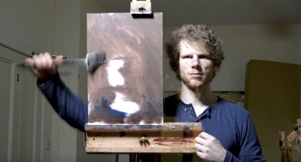 【神技】キャンバスと並んで鏡越しに何かを描く男性。完成した作品を見てびっくり!