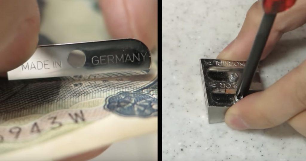 鉛筆削りの刃に焼き入れして研ぎ上げた結果、削りカスが一枚に繋がったまま途切れないほどの切れ味に!