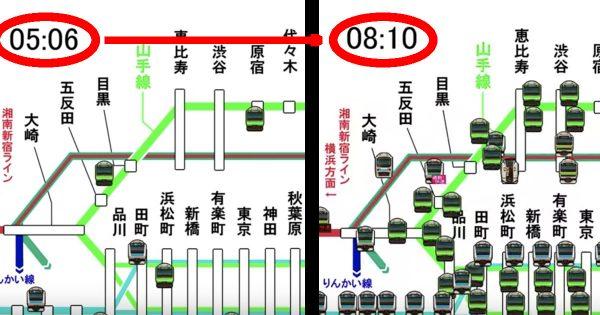 山手線の朝ラッシュ時の運行図がスゴい!いつの間にか電車が増えてびっくり