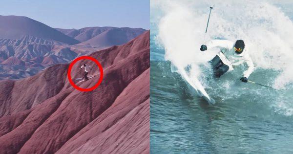 【神技】スキーで岩山から海まで走破しまくる動画が凄すぎる!!