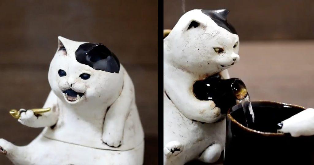 猫が1合きっちり注いでくれる「猫トックリ」と猫がキセルを吸う「猫香炉」が可愛すぎ!