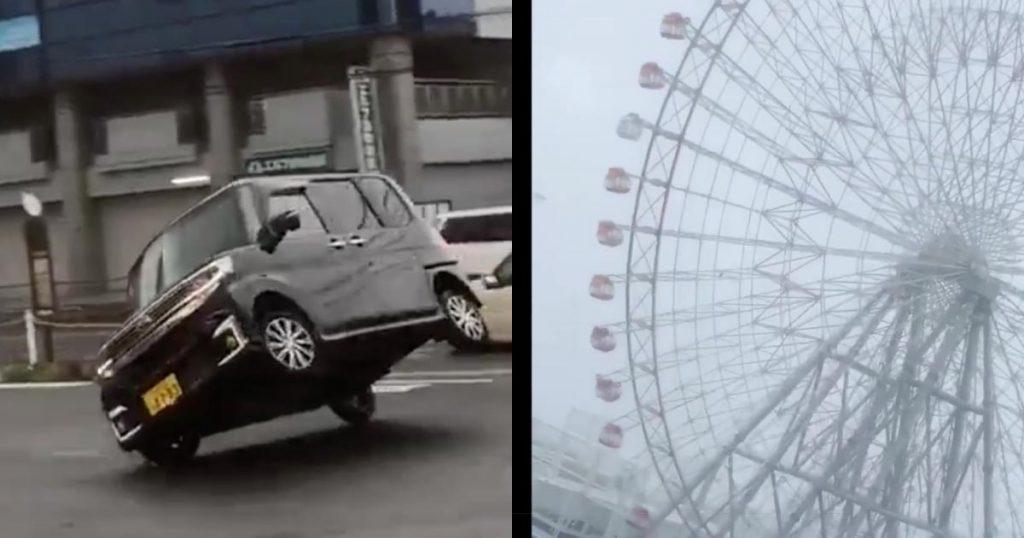 【台風21号】車も飛んで、観覧車も高速回転し建物も崩壊!大風21号のヤバすぎる被害状況が投稿される!