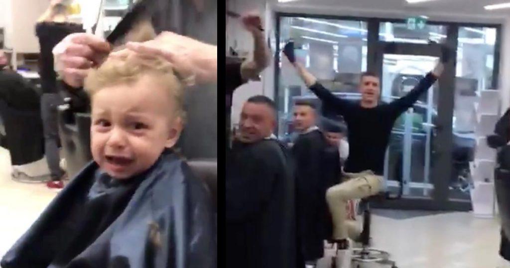 【神対応】生まれて初めての床屋さんで大泣きの男の子。それを見た店員さんたち全員による神対応が世界中で話題に!