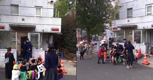「渋谷で暴れる人たちよ、これがハロウィンだ」交番で警察官がお菓子をあげる光景が微笑ましいと話題に!