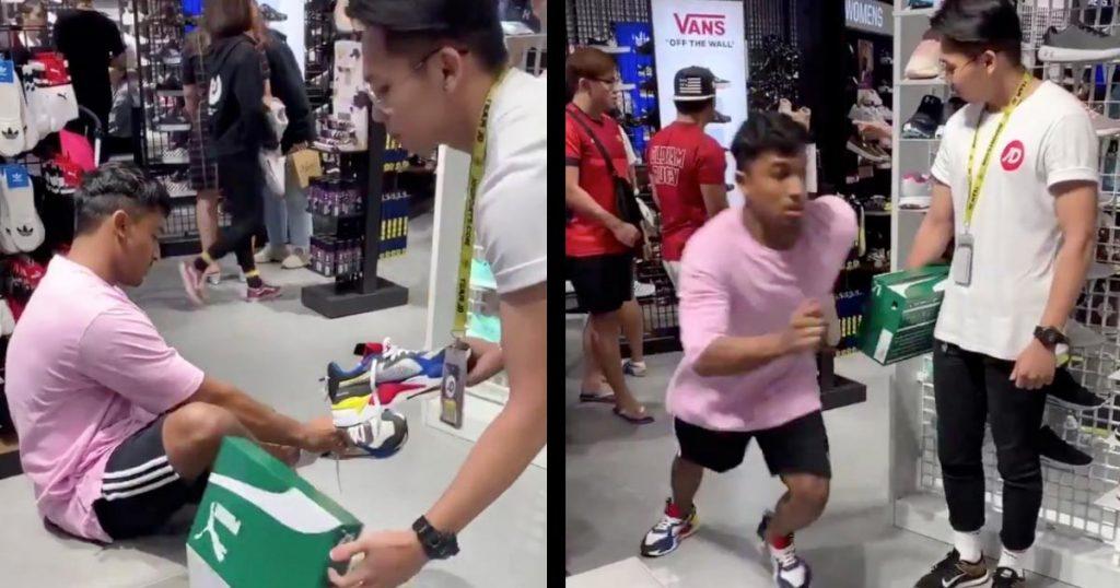 「マジで逃げたかと思った」靴を買いに来た男性の「試し履き」がヤバすぎ!店員さんの反応がナイス!