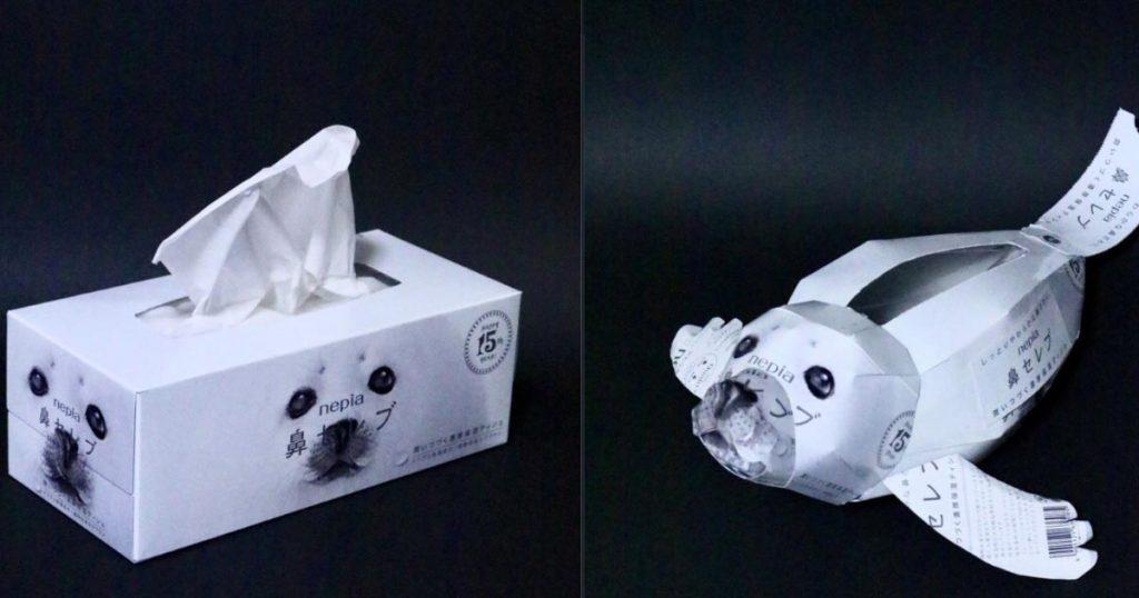 【神業】「鼻セレブ」の箱をアザラシにしてみた技術が凄いと話題に!「公式に採用してほしい」の声多数!