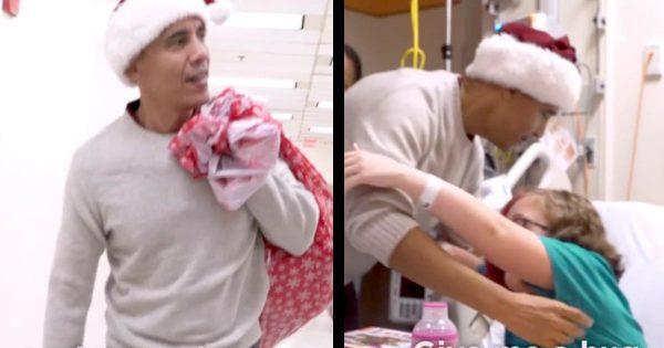 オバマ前大統領が、サンタ帽を被って小児病院をサプライズ訪問!幼い子供や職員もびっくり!
