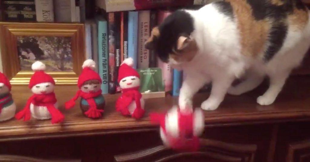 人間への警告か!?クリスマス人形を次々と「処刑」していく猫が話題に!