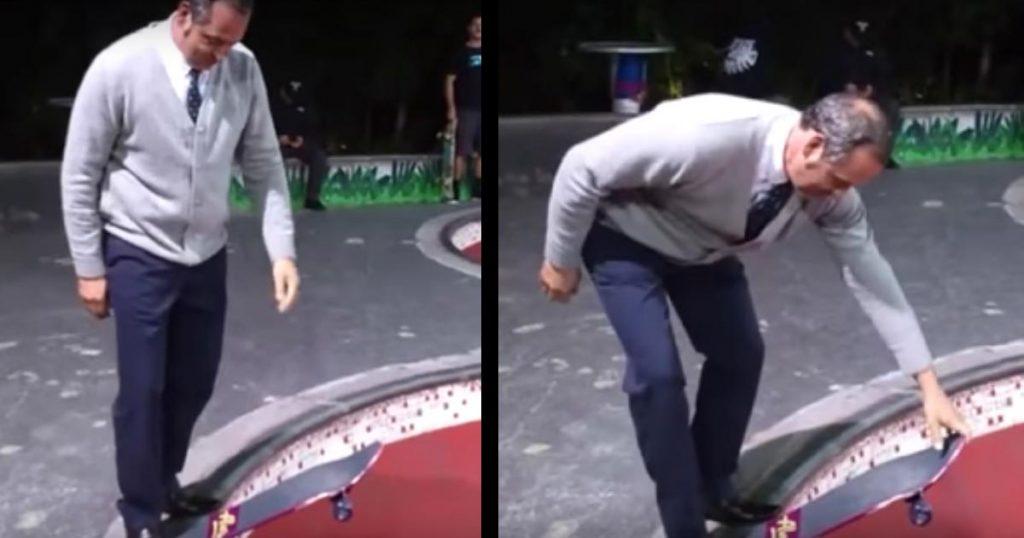 ヤラセなし!スケートボード場に来た年配の男性。思いもよらぬカッコいい乗りこなしに、若者たちも思わず拍手!