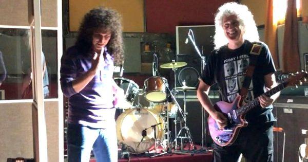 映画「ボヘミアン・ラプソディ」の撮影で、ブライアン・メイ氏がブライアン役の俳優の前でギターソロを演奏する舞台裏映像が話題に!