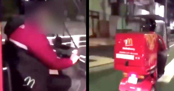 マクドナルド従業員と見られる配達員が危険運転する動画が物議!マクドナルドがコメントする事態に