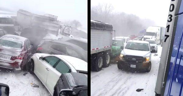 雪で視界が悪い高速道路で、猛スピードでどんどんやってくる車。アメリカでの玉突き事故が地獄絵図