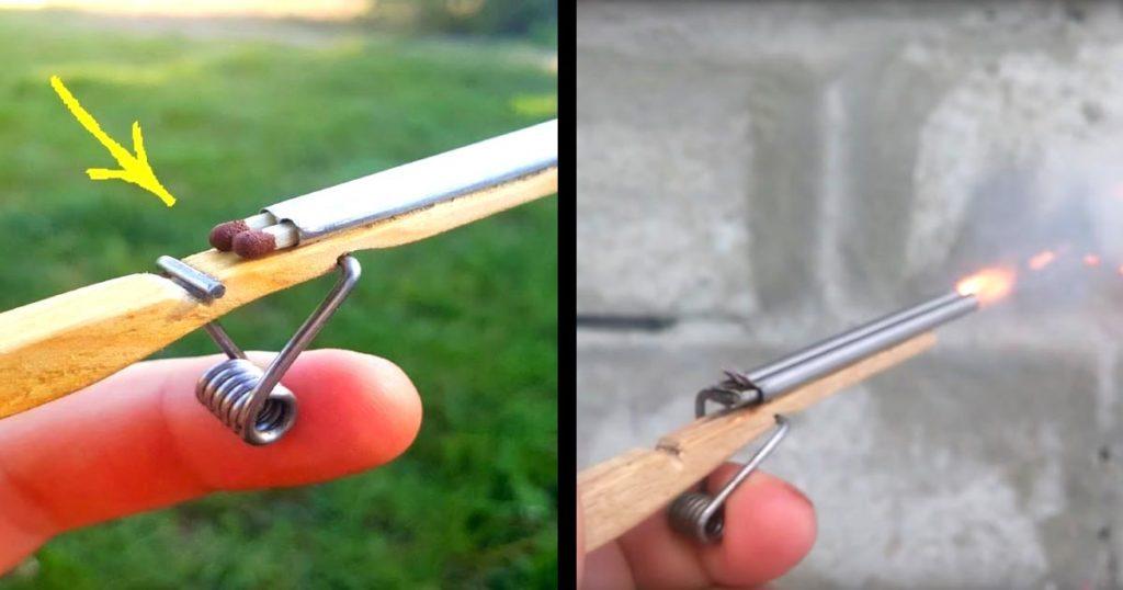 洗濯バサミの部品を使って工作した、マッチ棒やツマヨウジを飛ばせるミニライフルが凄いと話題に!