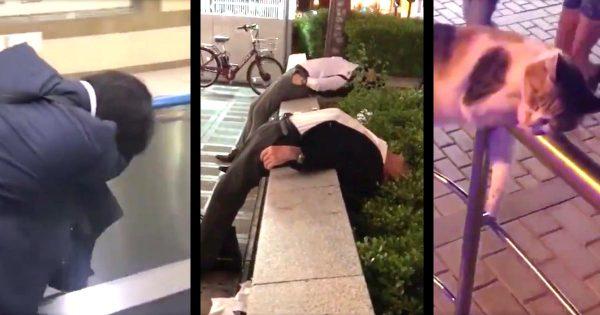 渋谷の路上でヤバすぎる寝方をしている人ばかりを集めたTwitterアカウントがヤバい!どうしたらこんな寝相になるんだろう笑