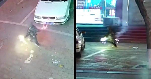 路上で8歳の少年が花火をしていたら大変なことに!思いもよらぬ事態になってしまい話題に!