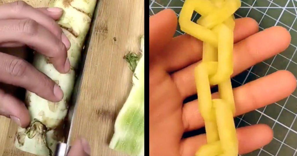 【スゴ技】まるで魔法か手品のよう!野菜が長い鎖(チェーン)になってしまう切り方が凄すぎると話題に!